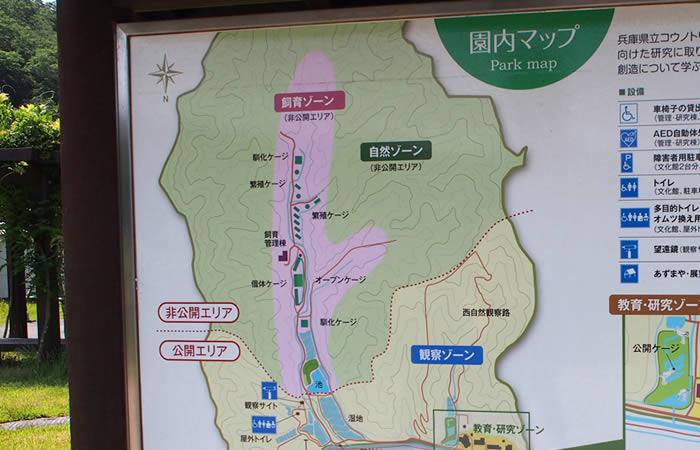 コウノトリの郷公園の園内マップ
