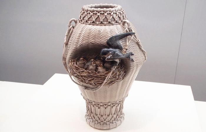 名作・籠目小鳥細工花瓶