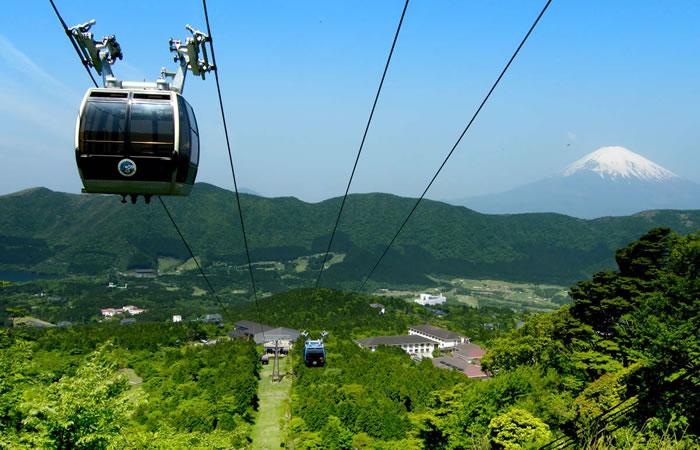 箱根ロープウェーと奥に佇む富士山