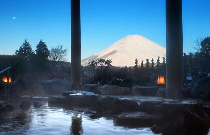 雪化粧された富士山の景色