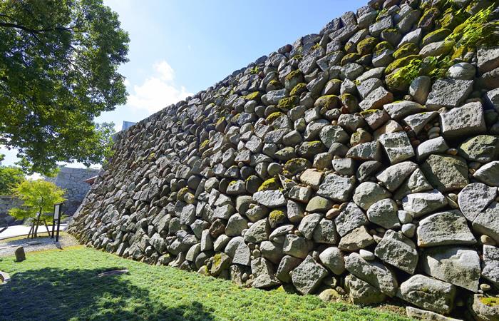 富山城に残されている石垣の風景